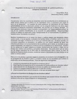 Documento sobre Requisitos de divulgación en el financiamiento de partidos políticos