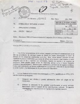 Documento de Embajada de Chile en Estados Unidos a Direamérica Norte